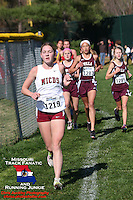 MICDS' Geneva Lee runs in third place ahead of the Villa Duchesne pack at 1.9 miles of the Class 3 District 2 race in Chesterfield, MO, Saturday, October 27.