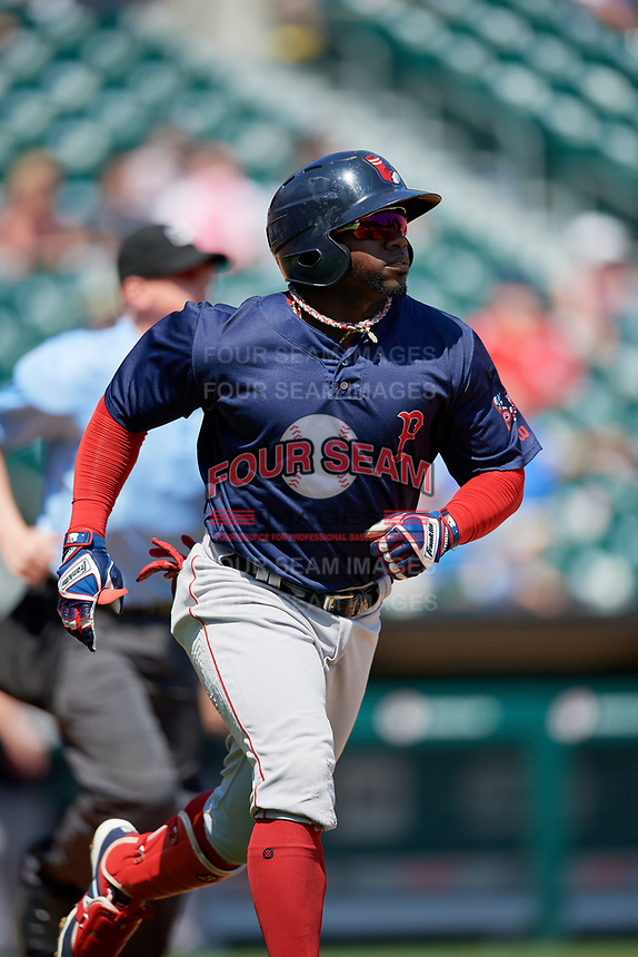 Pawtucket Red Sox right fielder Rusney Castillo (38) runs to first base during a game against the Buffalo Bisons on June 28, 2018 at Coca-Cola Field in Buffalo, New York.  Buffalo defeated Pawtucket 8-1.  (Mike Janes/Four Seam Images)