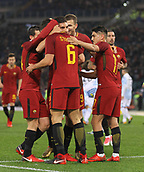 1st December 2017, Stadio Olimpico, Rome, Italy; Serie A football. AS Roma versis Spal;  Kevin Strootman goal celebration with Edin Dzeko as they go ahead 2-0