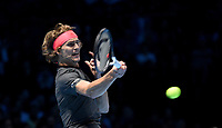 Alexander Zverev in action against Novak Djokovic in their singles Final match today<br /> <br /> Photographer Hannah Fountain/CameraSport<br /> <br /> International Tennis - Nitto ATP World Tour Finals Day 8 - O2 Arena - London - Sunday 18th November 2018<br /> <br /> World Copyright &copy; 2018 CameraSport. All rights reserved. 43 Linden Ave. Countesthorpe. Leicester. England. LE8 5PG - Tel: +44 (0) 116 277 4147 - admin@camerasport.com - www.camerasport.com