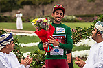 A delighted Nathan Haas (AUS) Team Katusha-Alpecin wins Stage 2 and also takes over the Green Jersey of the 2018 Tour of Oman running 167.5km from Sultan Qaboos University to Al Bustan. 14th February 2018.<br /> Picture: ASO/Muscat Municipality/Kare Dehlie Thorstad | Cyclefile<br /> <br /> <br /> All photos usage must carry mandatory copyright credit (&copy; Cyclefile | ASO/Muscat Municipality/Kare Dehlie Thorstad)