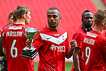 LONDON, ENGLAND - MAY 12: Lanre Oyebanjo of York City pictured with the 'Man of the Match' award after the FA Trophy Final match between York City and Newport County at Wembley Stadium on May 12, 2012 in London, England.(Photo by Dave Horn - Extreme Aperture Photography)