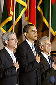 Washington, DC - April 23, 2009 -- United States President Barack Obama (C), U.S. Holocaust Memorial Council Chairman Fred Zeidman (L) and Holocaust survivor and Nobel Prize winning auther Elie Wiesel stand for the National Anthem during the Holocaust Days Of Remembrance ceremony with Speaker of the House Nancy Pelosi in the Rotunda of the U.S. Capitol, Thursday, April 23, 2009 in Washington, DC. Estabilished in 1993, the Days of Remembrance are commemorated in April so that they coincide with the observance in Israel. .Credit: Chip Somodevilla - Pool via CNP