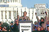 "United States Senator Bob Dole (Republican of Kansas) speaks at the ""Campaign to the Summit"", a march on Washington, D.C. supporting freedom for Jews living in the Soviet Union, on Sunday, December 6, 1987.  200,000 people marched to focus attention on the repression of Soviet Jewry, was scheduled a day before United States President Ronald Reagan and Soviet President Mikhail Gorbachev began a 2 day summit in Washington where they signed the Intermediate Range Nuclear Forces (INF) Treaty.<br /> Credit: Ron Sachs / CNP"