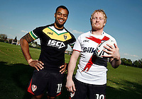 PICTURE BY VAUGHN RIDLEY/SWPIX.COM...Rugby League - International Origin - England v Exiles Shirt Launch - Cowley Language College, St Helens, England - 28/04/11...Exiles Tony Puletua and England's James Graham launch the playing shirts to be worn in the International Origin Match at Headingley on June 10th, 2011.