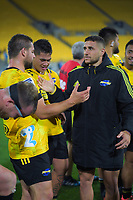 Hurricanes' Dane Coles and TJ Perenara after the Super Rugby match between the Hurricanes and Sharks at Sky Stadium in Wellington, New Zealand on Saturday, 15 February 2020. Photo: Dave Lintott / lintottphoto.co.nz
