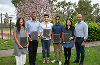Graduating seniors, from left: Dean's Award for Excellence recipient Anna Palmer; Dean's Award for Service recipient Jacques Lesure; Dean's Award for Equity recipient Diego Zapata; Dean's Award for Community recipient Rahsaan Middleton and Dean's Award for Equity recipient Manjun Hao stand with Rob Flot, VP for Student Affairs and Dean of Students.<br /> Photo taken April 30, 2019 outside Lower Herrick.<br /> (Photo by Marc Campos, Occidental College Photographer)