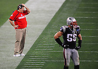 Feb 3, 2008; Glendale, AZ, USA; New England Patriots head coach Bill Belichick against the New York Giants during Super Bowl XLII at the University of Phoenix Stadium.  Mandatory Credit: Mark J. Rebilas-