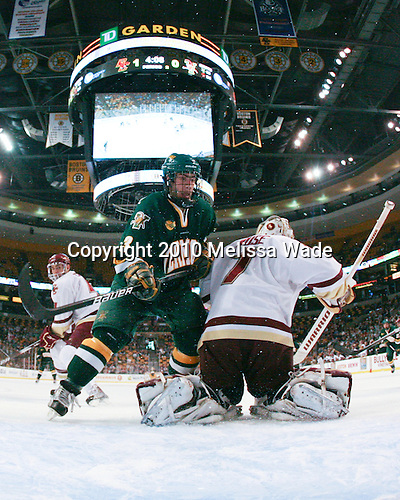 Chris McCarthy (Vermont - 3), John Muse (BC - 1) - The Boston College Eagles defeated the University of Vermont Catamounts 3-0 on Friday, March 19, 2010, in their Hockey East championship semi-final game at TD Garden in Boston, Massachusetts.