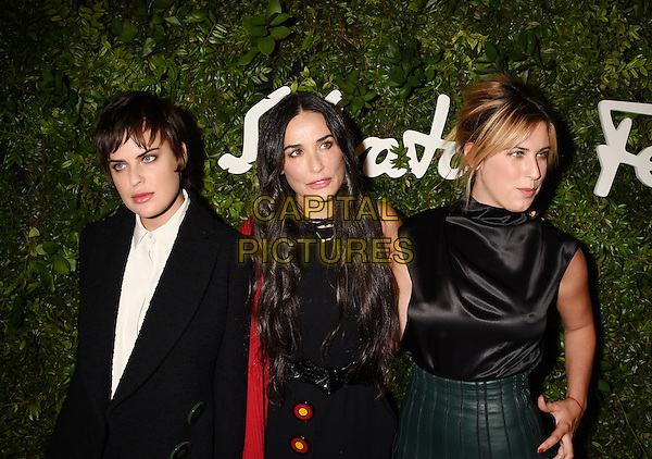 BEVERLY HILLS, CA - SEPTEMBER 09: (L-R) Actors Tallulah Willis, Demi Moore and Scout Willis arrive at the Salvatore Ferragamo 100 Years In Hollywood celebration at the newly unveiled Rodeo Drive flagship Salvatore Ferragamo boutique on September 9, 2015 in Beverly Hills, California.<br /> CAP/ROT/TM<br /> &copy;TM/ROT/Capital Pictures