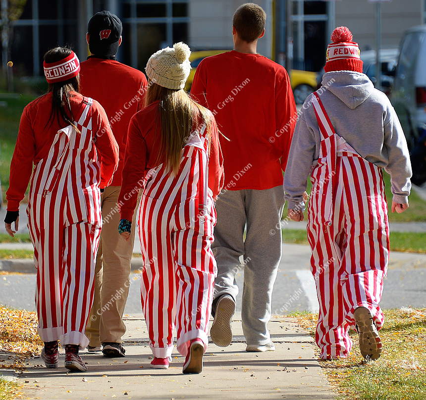 Fans head to the Badgers game during UW Homecoming on Saturday, October 17, 2015 at the University of Wisconsin in Madison, Wisconsin