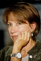 Montreal (Qc) CANADA -1998 File Photo -<br /> Nathalie Baye, Jury  press conference,<br /> <br /> Nathalie Baye (born July 6, 1948) is a four-time C&eacute;sar award-winning French actress. Also she has been nominated a further five times.<br /> <br /> Baye was born in Mainneville, Eure, Normandy. At the age of fourteen she started her artistic career by joining a school of dance in Monaco. Three years later she went to the United States to sample a new world and new culture. On returning to France, she continued with dance but in parallel registered for the Simon Course for the Academy where she graduated in 1972 with a second prise in comedy, dramatic comedy and foreign theatre.<br /> <br /> [edit] Career<br /> <br /> Her first cinema appearance was in Two People by Robert Wise. Then she rose to fame as the 'script girl' in La Nuit am&eacute;ricaine (Day for Night) by Fran&ccedil;ois Truffaut. Throughout the 1970s she played the roles of good girlfriend and nice provincial in both film and television.<br /> <br /> In 1981 she won her first C&eacute;sar, for best supporting artist in Sauve qui peut (la vie) by Jean-Luc Godard. There then followed an impressive sequence of success and rise to stardom with Le Retour de Martin Guerre and La Balance.<br /> <br /> She became one of the most popular and renowned French actresses, gaining two more C&eacute;sars (Best Supporting Female for A Strange Affair, and Best Actress in 1982 for La Balance. Her 4 year relationship with Johnny Hallyday made them a leading celebrity couple and their daughter Laura is now actress Laura Smet.<br /> <br /> After changing her image by playing the part of a streetwalker in La Balance, she further widened her scope with more obscure characters in J'ai &eacute;pous&eacute; une ombre and En toute innocence. In 1986 she returned to the theatre with an interpretation of Adriana Monti.<br /> <br /> 1999 started a glittering year as she was voted Best Supporting Actress at Venice Film Festival for Une liaison pornographique and in 2000 starred in the multi-award winning film V&eacute;nus Beaut&eacute; (Institut) by Tonie Marshall<br /> <br /> Since 2002 she has