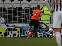 Craig Samson nearly gets to Johnny Russell's penalty in the St Mirren v Dundee United Clydesdale Bank Scottish Premier League match played at St Mirren Park, Paisley on 27.10.12.