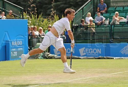 21.06.2016. Nottingham Tennis Centre, Nottingham, England. Aegon Open Mens ATP Tennis. Serve from Ricardas Berankis of Lithuania