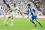 Real Madrid Mariano Diaz and RCD Espanyol Didac Vila during La Liga match between Real Madrid and RCD Espanyol at Santiago Bernabeu Stadium in Madrid, Spain. September 22, 2018. (ALTERPHOTOS/Borja B.Hojas)