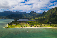 Aerial view of Kualoa Regional Park and Kane'ohe Bay, Windward O'ahu.