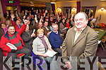 Independent election candidate Tom Fleming pictured launching his campaign in the Travel Inn, Fossa on Tuesday night.