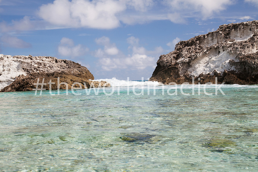 EXUMA, Bahamas. Rachel's Bubble Bath, a swimming hole on Compass Cay.