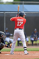 Boston Red Sox minor league first baseman Nick Moore (17) during an extended spring training game against the Tampa Bay Rays on April 16, 2014 at Charlotte Sports Park in Port Charlotte, Florida.  (Mike Janes/Four Seam Images)