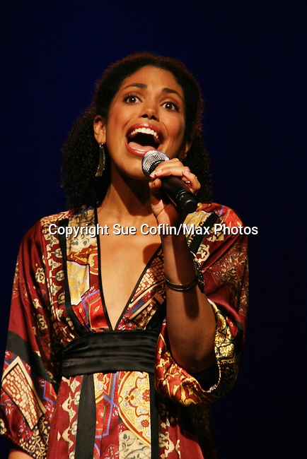 "Karla Mosley ""Christina"" GL performs at the Broadway For A New America presented by the Jewish Alliance for Change on April 13, 2009 at the Peter Norton Symphony Space, NYC. (Photo by Sue Coflin/Max Photos)"