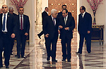 Palestinian President Mahmoud Abbas meets with Egyptian President Abdel Fattah el-Sisi in Cairo, Egypt on April 29, 2017. Photo by Osama Falah