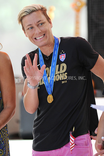 WWW.ACEPIXS.COM<br /> July 10, 2015 New York City<br /> <br /> Abby Wambach on NBC's 'Today' at Rockefeller Plaza on July 10, 2015 in New York City.<br /> <br /> Credit: Kristin Callahan/ACE Pictures<br /> Tel: (646) 769 0430<br /> e-mail: info@acepixs.com<br /> web: http://www.acepixs.com
