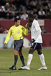 19 November 2008: Benito Archundia, Referee, admonishes Jozy Altidore (Villarreal)(14) of the USA who was unset with Archundia's call.  The United States Men's National Team defeated the visiting Guatemala Men's National Team 2-0 at Dick's Sporting Goods Park in Commerce City, Colorado in a CONCACAF semifinal round FIFA 2010 South Africa World Cup Qualifier.