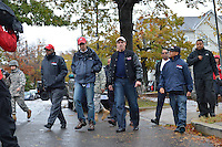 October 30, 2012  (Washington, DC)  D.C. Mayor Vincent Gray (c) tours Hurricane Sandy storm damage. (L-R) Paul Quander, Deputy Mayor for Public Safety; Pedro Ribeiro, Director of Communications; Fire Chief Kenneth Ellerbee (r,rear)   (Photo by Don Baxter/Media Images International)