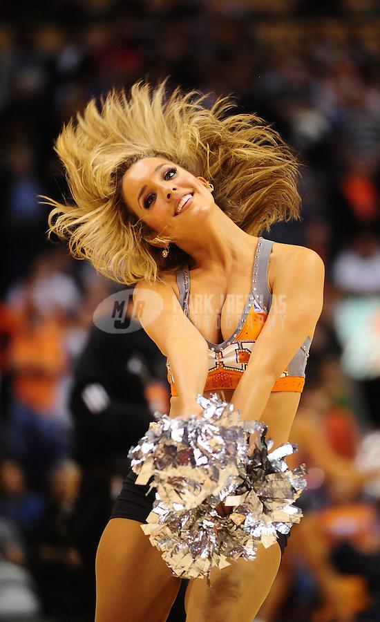 Jan. 14, 2011; Phoenix, AZ, USA; A Phoenix Suns dancer performs in the fourth quarter against the Portland Trailblazers at the US Airways Center. The Suns defeated the Trailblazers 115-111. Mandatory Credit: Mark J. Rebilas-