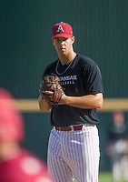Hawgs Illustrated/BEN GOFF <br /> Jackson Rutledge, gray team freshman pitcher, Wednesday, Oct. 11, 2017, during the Arkansas baseball Fall World Series scrimmage at Baum Stadium in Fayetteville.