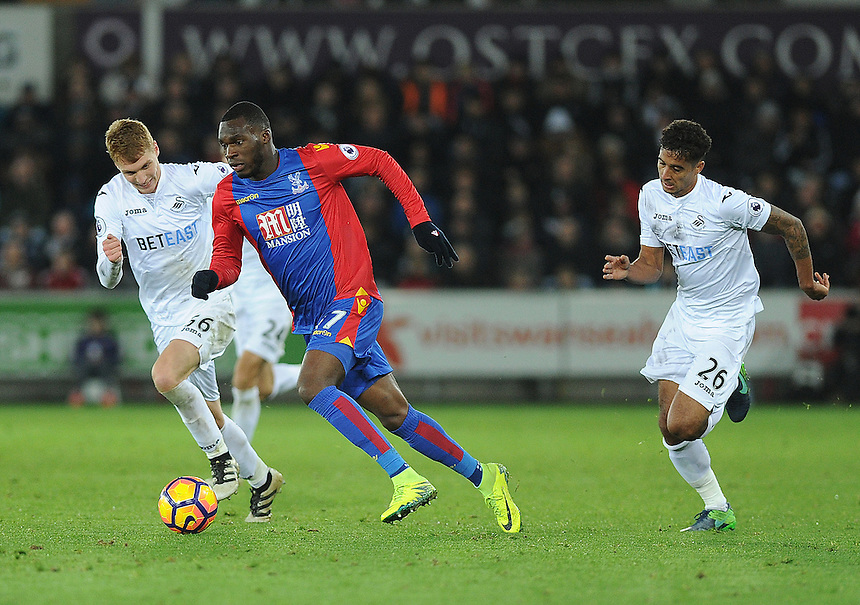 Crystal Palace's Christian Benteke in action during todays match  <br /> <br /> Photographer Ashley Crowden/CameraSport<br /> <br /> The Premier League - Swansea City v Crystal Palace - Saturday 26th November 2016 - Liberty Stadium - Swansea <br /> <br /> World Copyright &copy; 2016 CameraSport. All rights reserved. 43 Linden Ave. Countesthorpe. Leicester. England. LE8 5PG - Tel: +44 (0) 116 277 4147 - admin@camerasport.com - www.camerasport.com