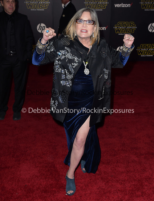 Carrie Fisher at Star Wars: The Force Awakens World Premiere held at El Capitan Theatre in Hollywood, California on December  14,2015                                                                   Copyright 2015Hollywood Press Agency