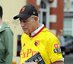 A Watford fan arriving for today's premier league match at the Vicarage Road Stadium, Watford. Picture date 26th August 2017. Picture credit should read: Robin Parker/Sportimage