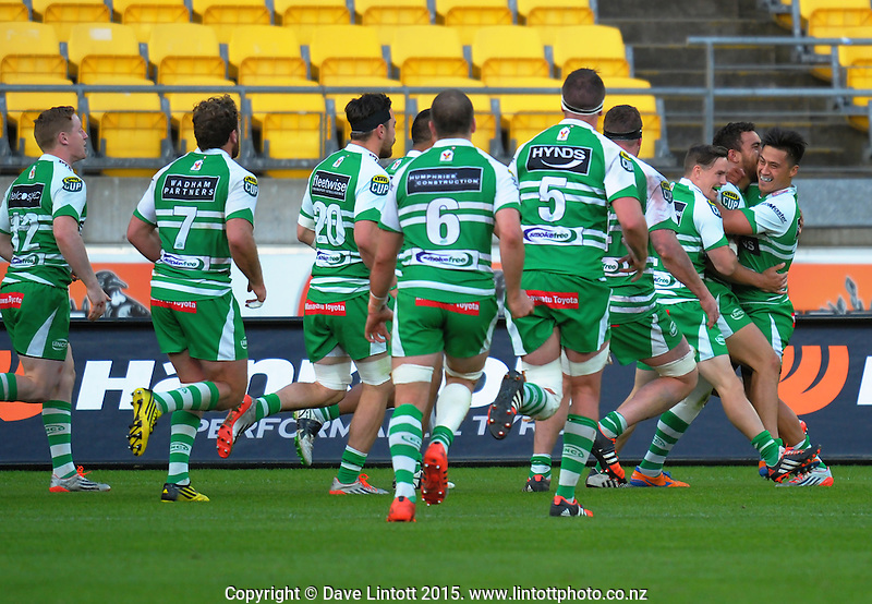 The Turbos celebrate Newton Tudreu's try during the ITM Cup rugby union match between Wellington Lions and Manawatu Turbos at Westpac Stadium, Wellington, New Zealand on Saturday, 10 October 2015. Photo: Dave Lintott / lintottphoto.co.nz