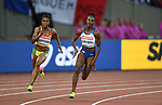 Dina ASHER-SMITH (GBR) in the womens 200m heats. IAAF world athletics championships. London Olympic stadium. Queen Elizabeth Olympic park. Stratford. London. UK. 08/08/2017. ~ MANDATORY CREDIT Garry Bowden/SIPPA - NO UNAUTHORISED USE - +44 7837 394578