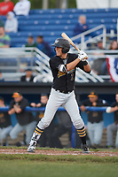 West Virginia Black Bears second baseman Tristan Gray (2) at bat during a game against the Batavia Muckdogs on June 26, 2017 at Dwyer Stadium in Batavia, New York.  Batavia defeated West Virginia 1-0 in ten innings.  (Mike Janes/Four Seam Images)