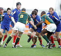 French second row Jean Roidot on the attack during the Division A U19 World Championship clash against South Africa at Ravenhill.