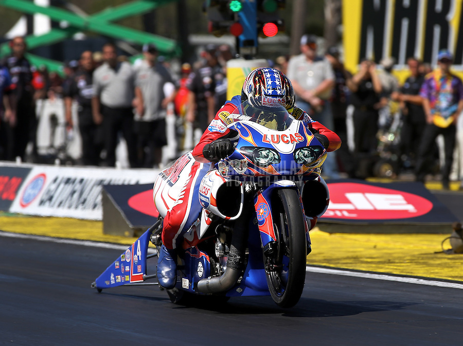 Mar. 16, 2013; Gainesville, FL, USA; NHRA pro stock motorcycle rider Hector Arana Sr during qualifying for the Gatornationals at Auto-Plus Raceway at Gainesville. Mandatory Credit: Mark J. Rebilas-