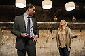 London, UK. 11.10.2012. YOU CAN STILL MAKE A KILLING, a new play by Nicholas Pierpan, opens at Southwark Playhouse. Directed by Matthew Dunster, the play runs from 10th October to 3rd November 2012. Picture shows: Tim Delap and Kellie Bright. Photo credit: Jane Hobson.