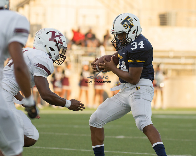 Stony Point Tigers sophomore running back Tyler Cleveland catches a pass during a high school football game between Stony Point High School and Killeen High School at Kelly Reeves Stadium in Round Rock, Texas on August 25, 2016.