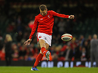 1st February 2020; Millennium Stadium, Cardiff, Glamorgan, Wales; International Rugby, Six Nations Rugby, Wales versus Italy; Dan Biggar of Wales warms up before the match