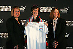 16 January 2009: Megan Rapinoe, with head coach Emma Hayes (left) and WPS Commissioner Tonya Antonucci (right), was taken by the Chicago Red Stars with the second overall pick. The 2009 inaugural Womens Pro Soccer (WPS) Draft was held at the Convention Center in St. Louis, Missouri in conjuction with the National Soccer Coaches Association of America's annual convention.