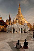 Worshippers at Shwedagon Paya, Yangon,  Burma