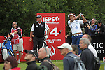 Defending champion Thongchai Jaidee hits his tee shot at the 14th alongside Darren Clark during the opening round of the ISPS Handa Wales Open 2013 at the Celtic Manor Resort<br /> <br /> 29.08.13<br /> <br /> ©Steve Pope-Sportingwales