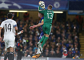 12th September 2017, Stamford Bridge, London, England; UEFA Champions League Group stage, Chelsea versus Qarabag FK; Ibrahim Sehic of Qarabag FK jumps over Gary Cahill, the Chelsea captain to catch the ball
