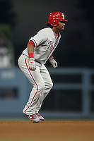 08/9/11 Los Angeles, CA: Philadelphia Phillies catcher Carlos Ruiz #51 during an MLB game against the Los Angeles Dodgers played at Dodger Stadium. The Phillies defeated the Dodgers 5-3.