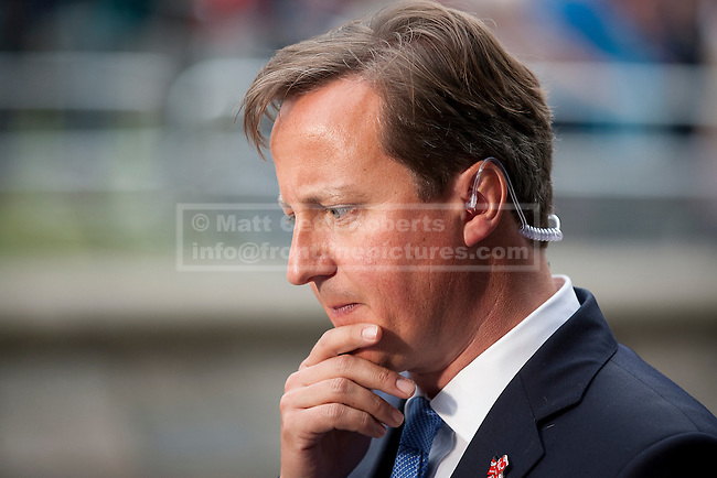 10/09/2012. LONDON, UK. British Prime Minister David Cameron is seen outside a reception for Olympic and Paralympic athletes at the Queen Elizabeth II Conference Centre in London today (10/09/12). Photo credit: Matt Cetti-Roberts
