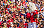 15 September 2013: Washington Nationals Mascot Screech stands during God Bless America between innings against the Philadelphia Phillies at Nationals Park in Washington, DC. The Nationals took the rubber match of their 3-game series 11-2 to keep their wildcard postseason hopes alive. Mandatory Credit: Ed Wolfstein Photo *** RAW (NEF) Image File Available ***
