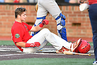 Johnson City Cardinals Mateo Gil (23) reacts to fouling a pitch off his shin during game one of the Appalachian League Championship Series against the Burlington Royals at TVA Credit Union Ballpark on September 2, 2019 in Johnson City, Tennessee. The Royals defeated the Cardinals 9-2 to take the series lead 1-0. (Tony Farlow/Four Seam Images)