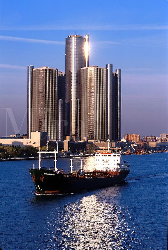 The Detroit Renaissance Center along the Detroit River, 07-0525, city. Detroit Michigan United States Renaissance Center.